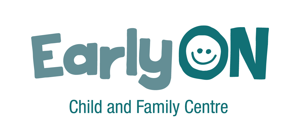 EarlyON Child and Family Centre logo in stylized text with a smiley face icon in the O in EarlyON