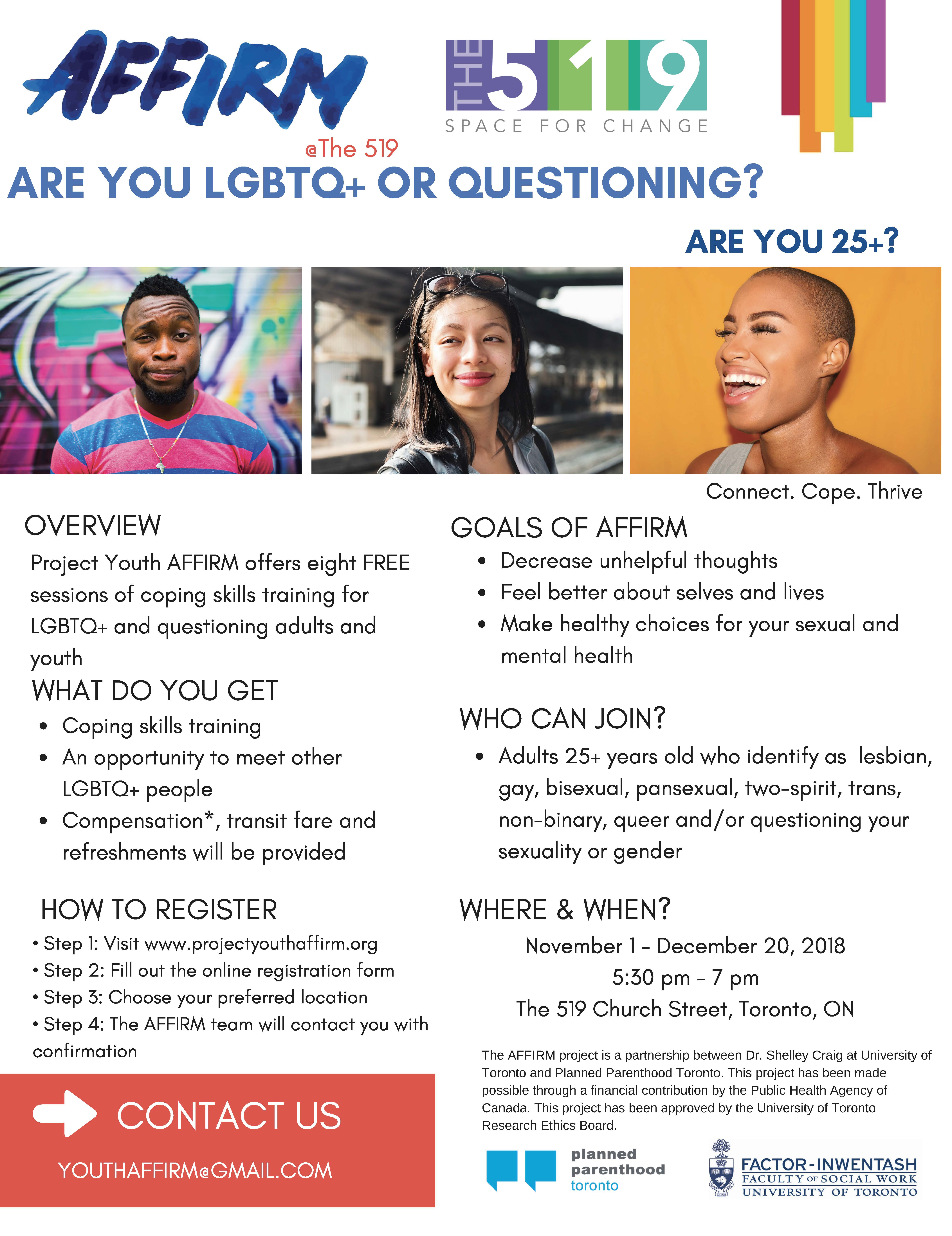 AFFIRM poster - join if you are 25+ LGBTQ2S identified person. November 1 - December 20, 2018 5:30 pm - 7 pm The 519 Church Street, Toronto, ON