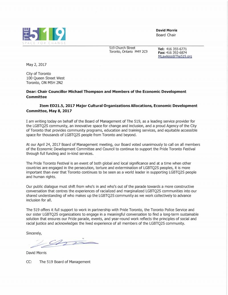 Letter to: Chair Councillor Michael Thompson and Members of the Economic Development  Committee